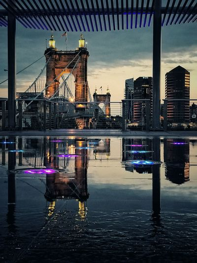 Built Structure Architecture Building Exterior Water Waterfront Reflection Bridge - Man Made Structure Sky Outdoors Travel Destinations No People City Day cincinnati