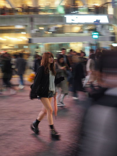 Adult Asian Girl Blurred Motion Femininity Full Length Illuminated Japanese  Lifestyles Long Exposure Motion Night One Person Outdoors People Real People Shibuya Speed Walking Walking Alone... Walking Around Woman Women Young Adult The Street Photographer - 2017 EyeEm Awards