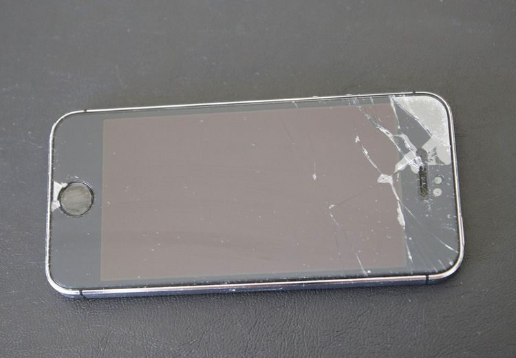 High angle view of smart phone on table