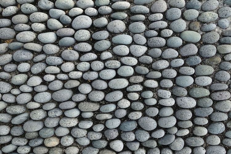 Full Frame Shot Of Pebbles Arranged On Pathway