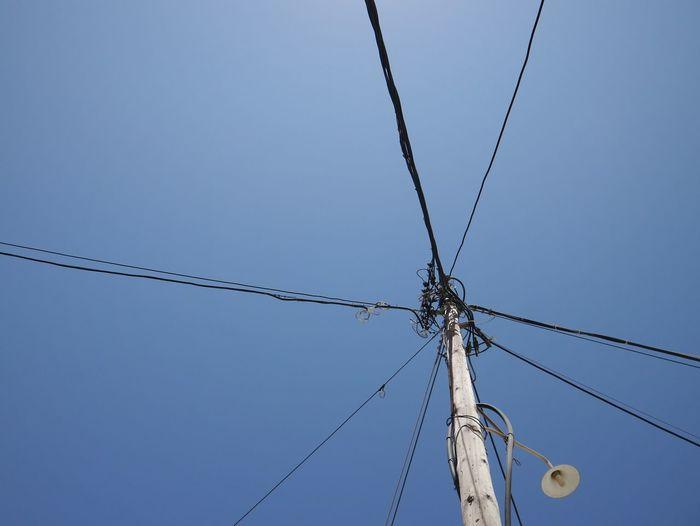 Lookingup Bluesky Powerlines Electric Lines Minimal Minimalism Lamp Blue Wave Fine Art Photography