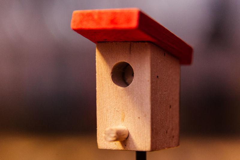 Close-up of wood birdhouse