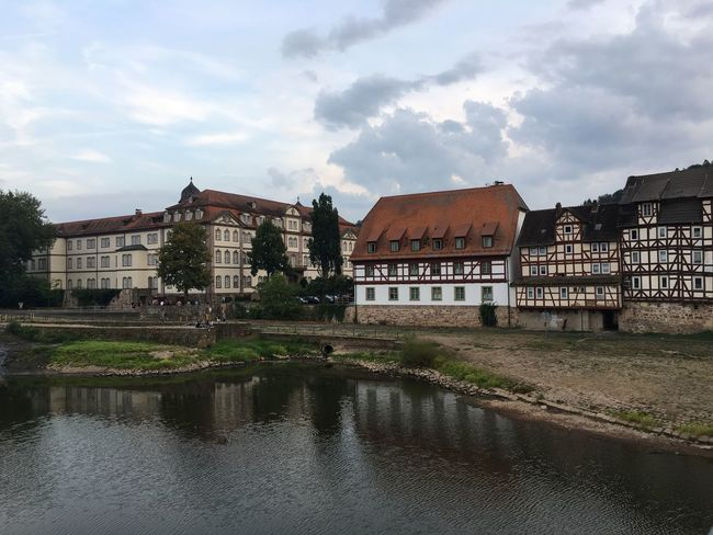 Fachwerkhäuser by the river Peaceful Cloud - Sky Fulda Fachwerk Building Exterior Architecture Built Structure Sky Cloud - Sky Building Water Nature Residential District City House Plant Tree Row House Waterfront Reflection Day No People Outdoors River