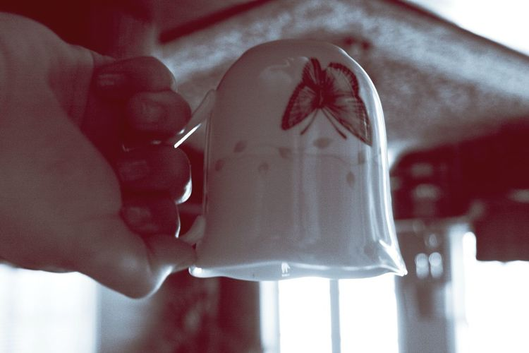 Flipped, Monochrome Collection May2018 Coffee coffee cup flipped monochrome monochrome photography Red Tint Tinted Coffee Coffee Cup Flipped Monochrome Human Hand Close-up Beverage