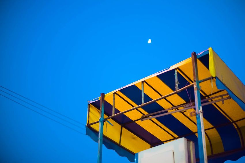 India Paint The Town Yellow Blue Clear Sky Low Angle View Moon No People Outdoors Sky Street Photography Streetphotography Yellow