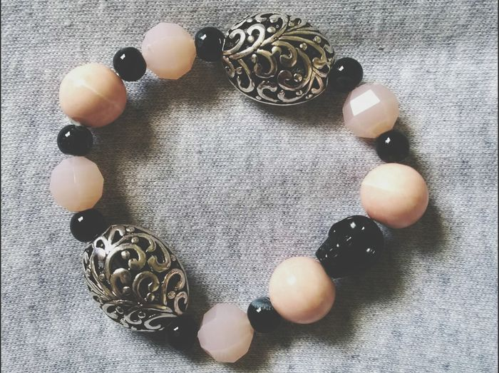 Hand Made Jewelry Fashion Bracelet ♥ Jewellery Skull Beads Silver Beads Pink And Black Black Beads