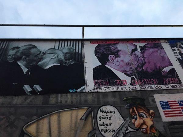East Side Gallery Berlin Berlin #wall #streetart Erich Honecker Kuss Bruderschaft Grey History