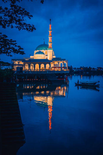 Morning prayer Mosque River Riverbank Blue Sky Blue Morning Morning Light Morning Sky City Water Cityscape Illuminated Place Of Worship Sunset Religion Adulation Business Finance And Industry Spirituality Calm Urban Skyline Waterfront Praying Faith Worshipper