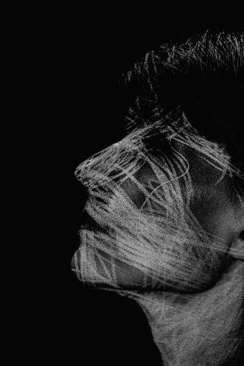 Portrait of women against black background