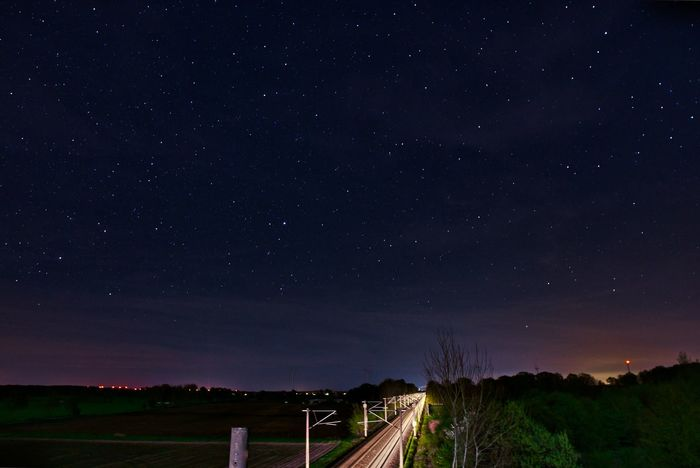 Train tracks by night EyeEm EyeEm Best Shots EyeEm Nature Lover EyeEmBestPics EyeEmNewHere Light Rails Train Tracks Astronomy Beauty In Nature Galaxy Nature Night No People Outdoors Scenics - Nature Sky Space Star Star - Space Star Field Stargazing Trainline Tranquil Scene Tranquility