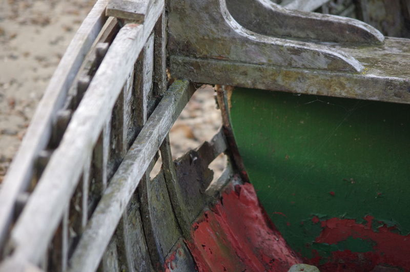 EyeEm Selects Nautical Vessel Wooden Boat No Longer In Use Close-up Outdoors No People Hole In The Hull Summer Beach