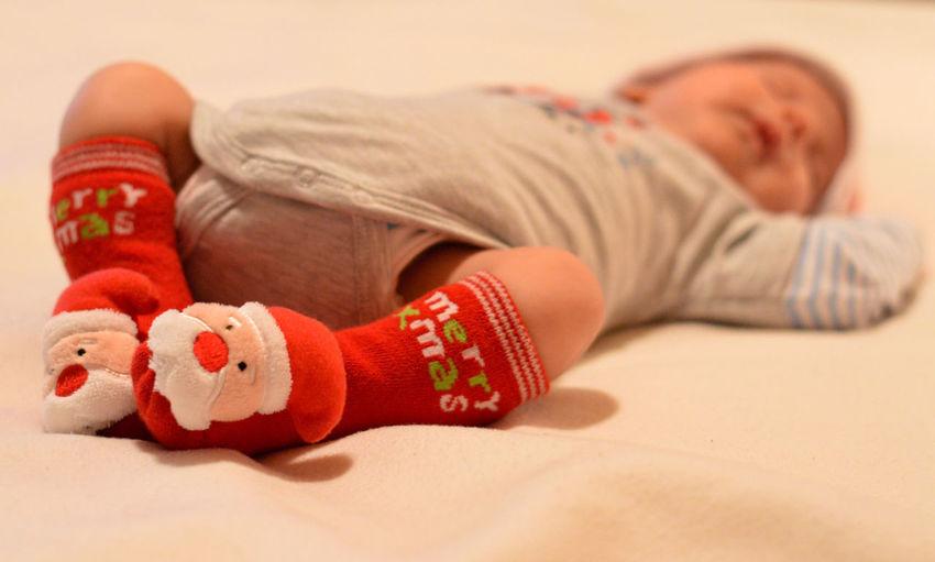 Baby Babyboy Christmassocks Christmastime ChristmasTime2013 Merry Christmas Santaclaus Sleeping