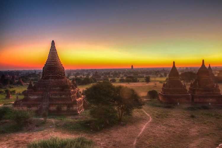 Ancient temple at sunset