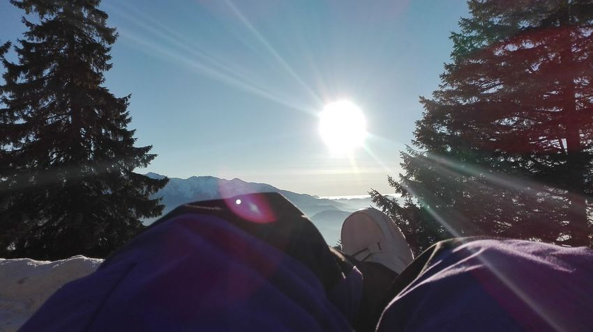 Happiness Winter Cold Temperature Bonding Low Section Tree Friendship Outdoors Sun Sky Lens Flare Sunlight Sunbeam Human Body Part Togetherness People Personal Perspective