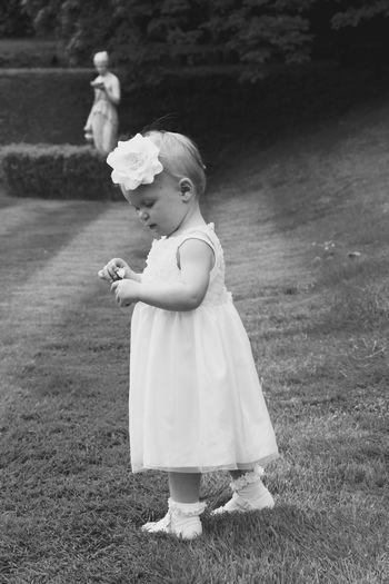 Full Length Of Cute Girl Standing On Grassy Field In Garden