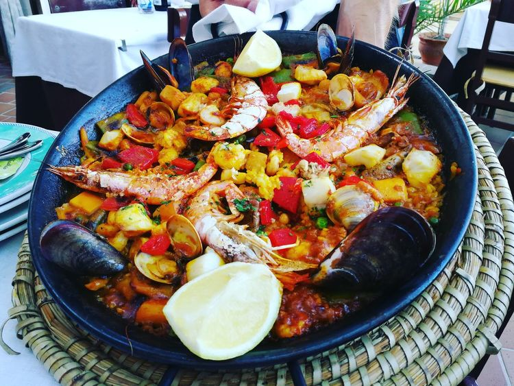 Paellas Paella De Marisco Cala D'or Marisco Summer 2017 Cena Dinner Food Food And Drink Plate No People Table Gourmet Rise Riso Outdoors SPAIN Spagna Mallorca Maiorca Ready-to-eat Still Life Cooked Resturant