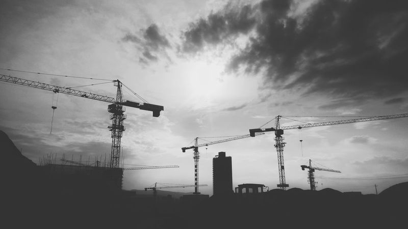 Tower Cranes Blackandwhite Photography Walking Around Taking Pictures Smartphone Photography Find Beauty Anywhere You Can Cloud - Sky Outdoors Taking Photos Anyway