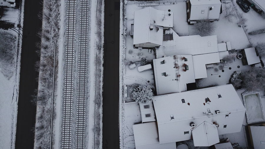 Snow covered railway tracks