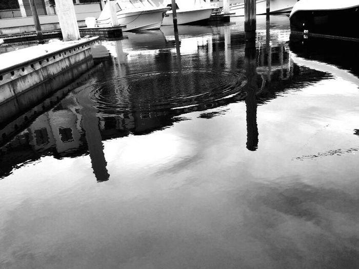 Blackandwhite Docks Boats Board Walk Water Drops