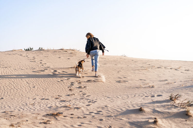Rear view of woman with dog walking at beach