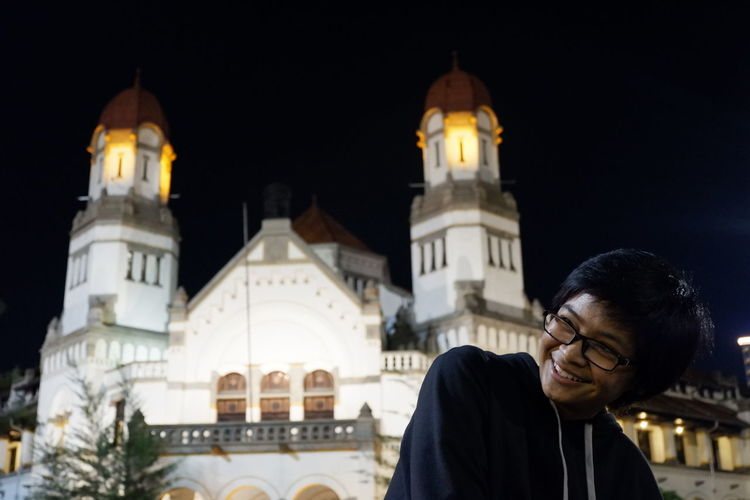 Lawang Sewu City Warm Clothing Winter Cold Temperature Place Of Worship Religion Men Illuminated Architecture Building Exterior