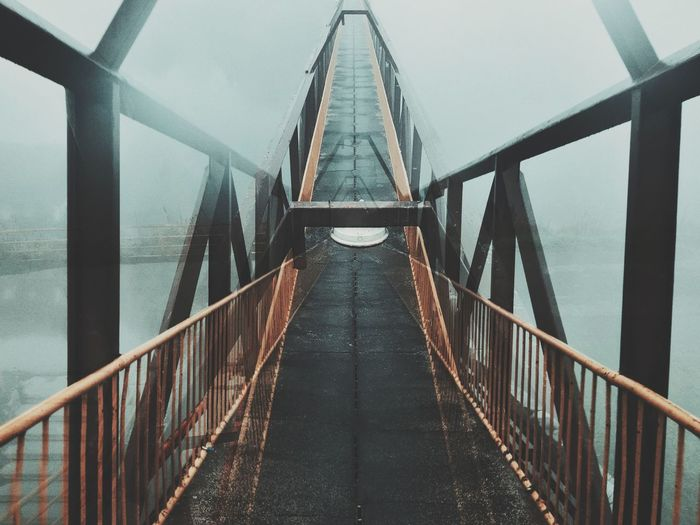 Double exposure of the bridge from different perspectives and vanishing point
