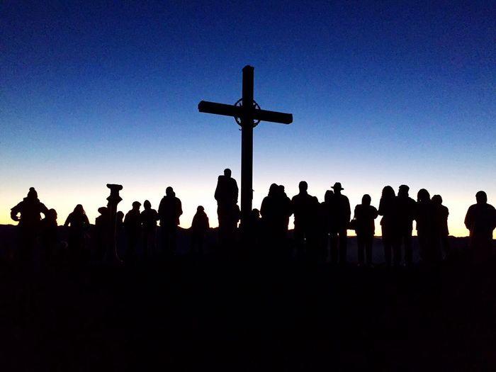 Silhouette Cross Religion Spirituality Large Group Of People Blue Clear Sky Religious Symbol Outdoors Goldeck Carinthia Austria Nockberge Österreich Kärnten Mountain Nature