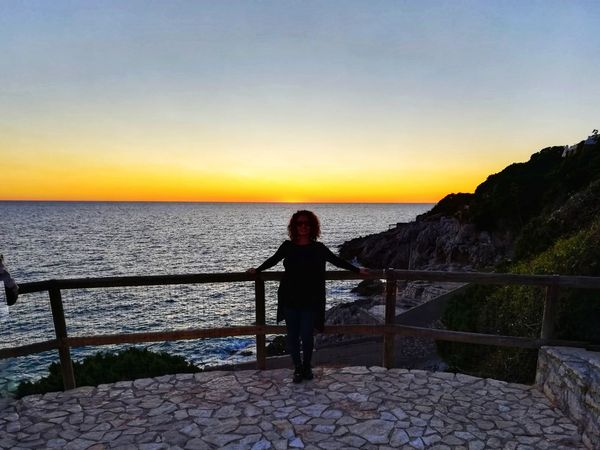 Fence Lazio Italy Romantic Scenery Sea Sunset Horizon Over Water One Person Sky Water Tranquil Scene Scenics Nature One Woman Only Beauty In Nature Tranquility Vacations Outdoors