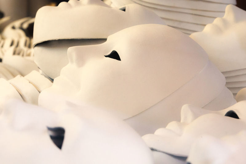 Carnival Of Venice Close-up Creation Equal Faces Factory Indoors  Making Of Manufacture Many Masks Production Same  Similar White White Color Workshop