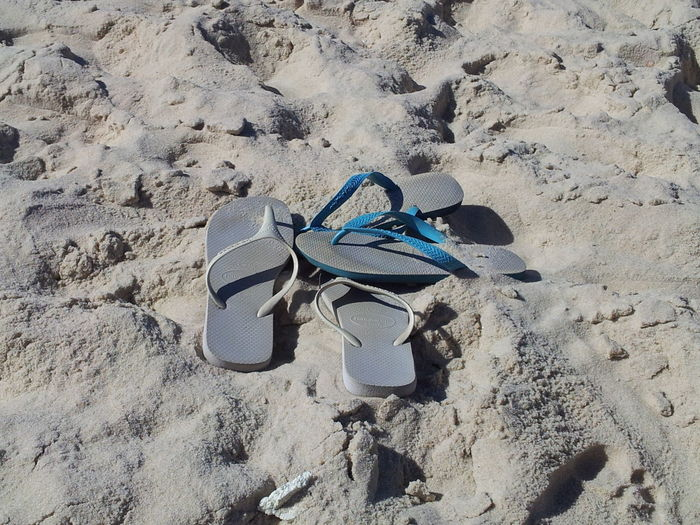High angle view of flip-flops at beach