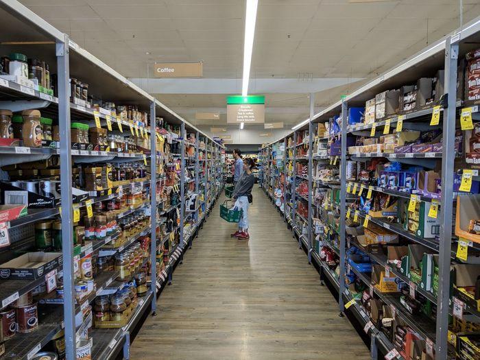 Supermarket Full Length Consumerism Shelf Choice Retail  Store Multi Colored Produce Aisle Aisle Storage Compartment Shopping Basket