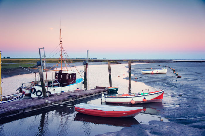 Ehstsiel on Eiderstedt near Tsting Beauty In Nature Botany Day Eiderstedt Mode Of Transport Nature Nature Nature_collection Nautical Vessel No People North Sea Outdoors Reflection Sea Sky Sunset Transportation Water