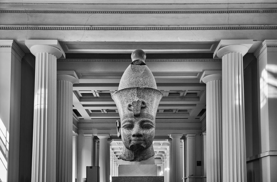 The British Museum, London (August 2017) Britain England London British Museum Museum Architecture No People Indoors  Ceiling History Statue Sculpture Egyptian Statue Egyptian Exhibit  Monochrome Blackandwhite Black And White Architectural Column Architecture Built Structure Symmetry Lines
