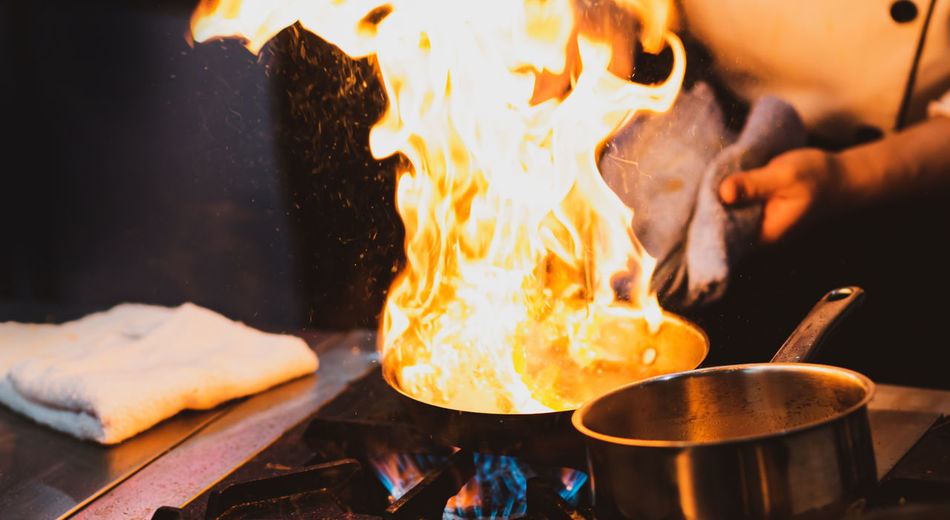 Close-up of fire in cooking pan