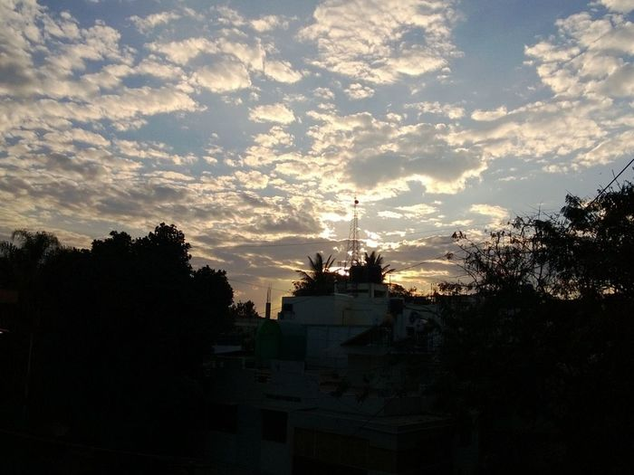 View of cloudy sky at sunset