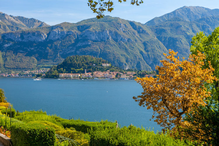 Lansdscape of lake of como from garden of villa carlotta, lombardy, italy