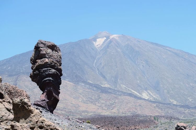 Scenic view of volcanoagainst clear sky