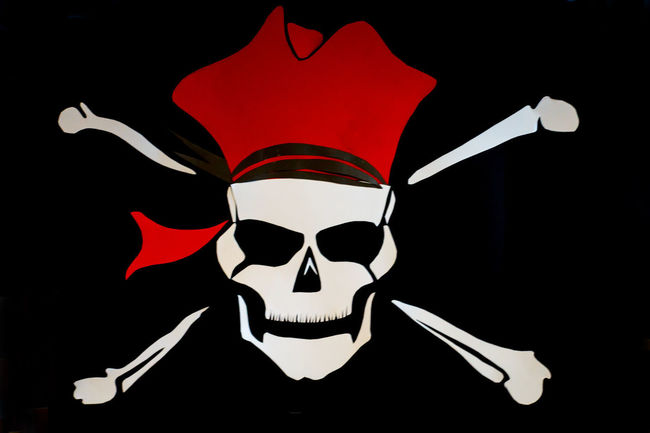 A skull and crossbones or Jolly Roger Hat Pirate Black Black Background Firghtening Jolly Roger Scary Skull Skull And Crossbones Symbol Warning
