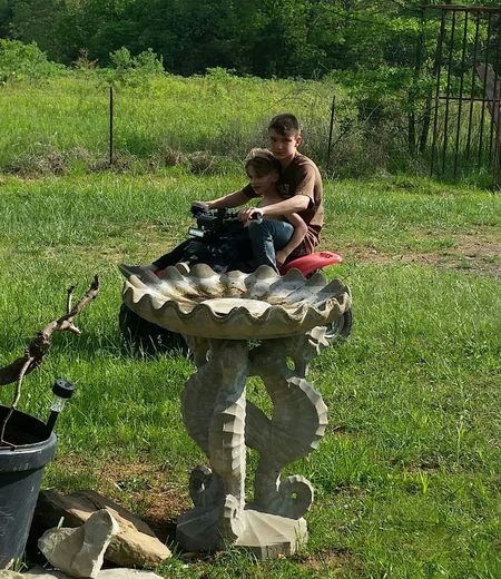 Spring Time Family 💞 Playing Love 💝 Missouri Ozarks United States Small 4 Wheeler 💝 Grandkids 💑 Boys Tree Sitting Full Length Grass Green Color Growth
