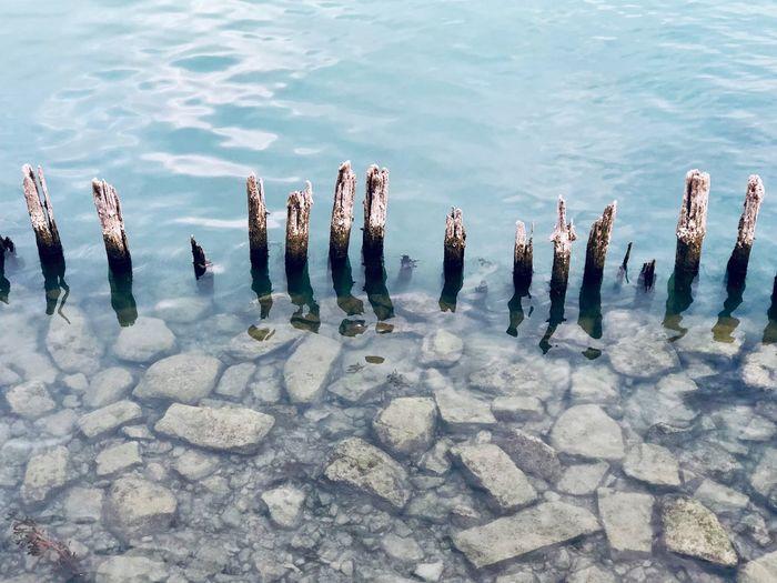 Poles In Water Hafen Harbour Stones & Water Stones Water Lake The Minimalist - 2019 EyeEm Awards The Mobile Photographer - 2019 EyeEm Awards
