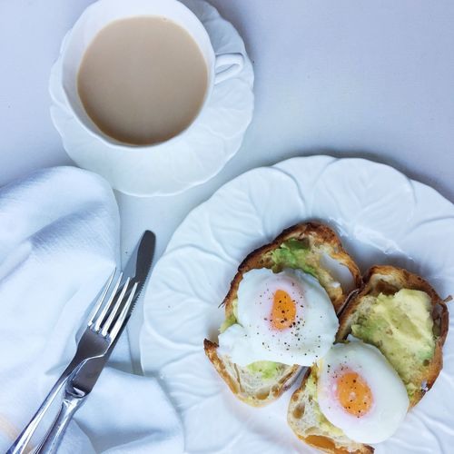 High angle view of egg on toast in plate by coffee cup on table