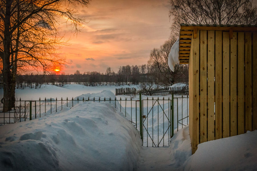 Sunset. In the yard of my house. Winter. Bare Tree Beauty In Nature Branch Cold Temperature Day Evening Evening Sky Frozen Ice Nature No People Outdoors Russia Sky Snow Sunset Tranquility Tree Winter