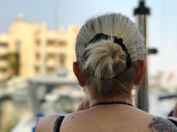 Rear view of woman hair bun