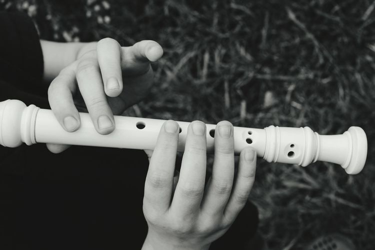 Cropped hands of person playing flute