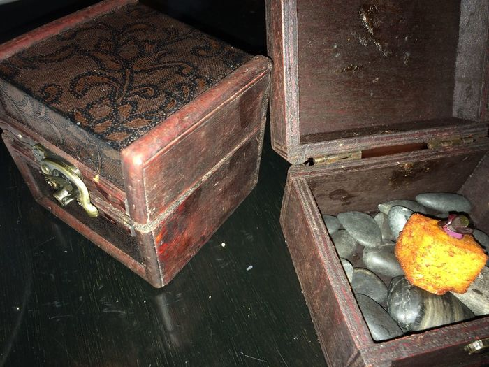 treasure box with smoked chickpea appetizer Antique Smoked Treasure Box Appetizer Box Chickpea Close-up Container Food Food And Drink Healthy Eating High Angle View Indoors  Metal No People Old Still Life Stones Vintage Wood Wood - Material