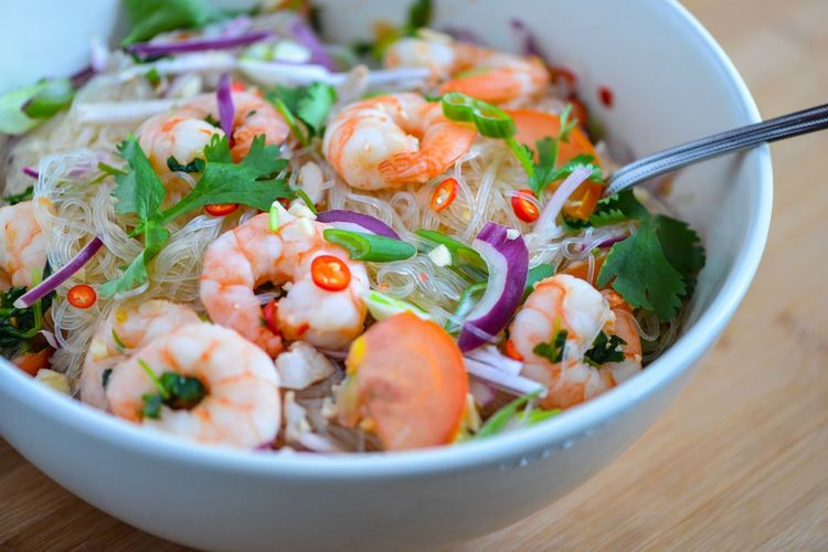 Close-up of prawn salad in bowl on table