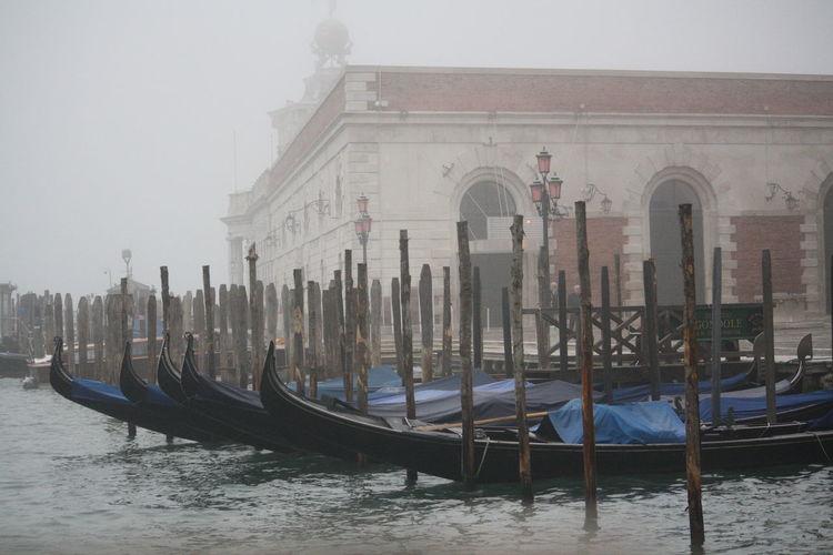 Gondolas in foggy weather