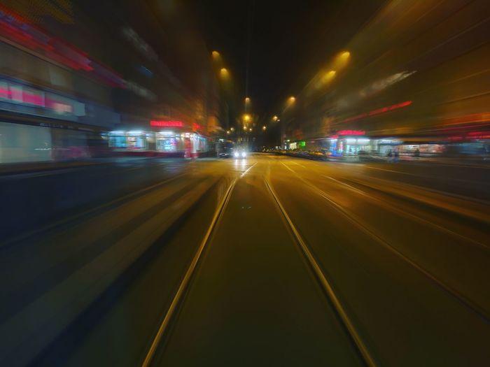 Metro goes fast. Transportation Illuminated City Motion Speed No People Blurred Motion Subway Train Night Architecture Neon Indoors  Metro Fast Lights Tram Reflection Nightlife Trip Focus On Foreground Lighting Equipment Cinema
