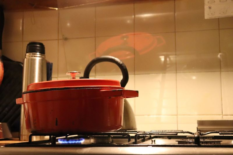Close-Up Of Utensil On Stove In Kitchen At Home