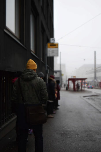 Bus Stop Fog Foggy Morning Man Morning Queue Standing Street People